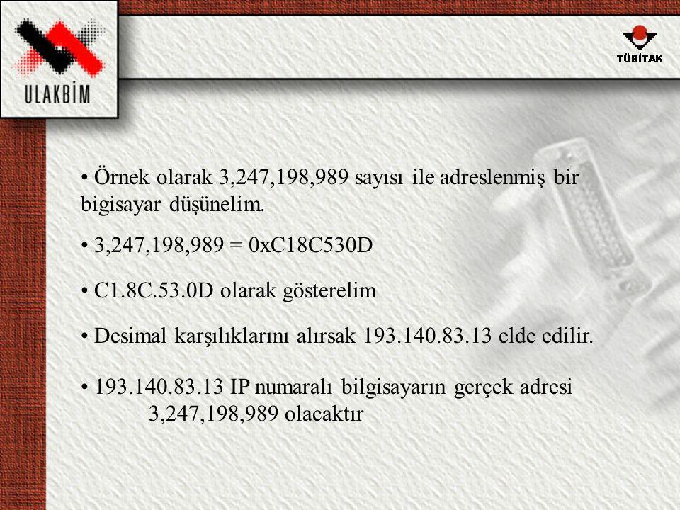 • Örnek olarak 3,247,198,989 sayısı ile adreslenmiş bir bigisayar düşünelim.