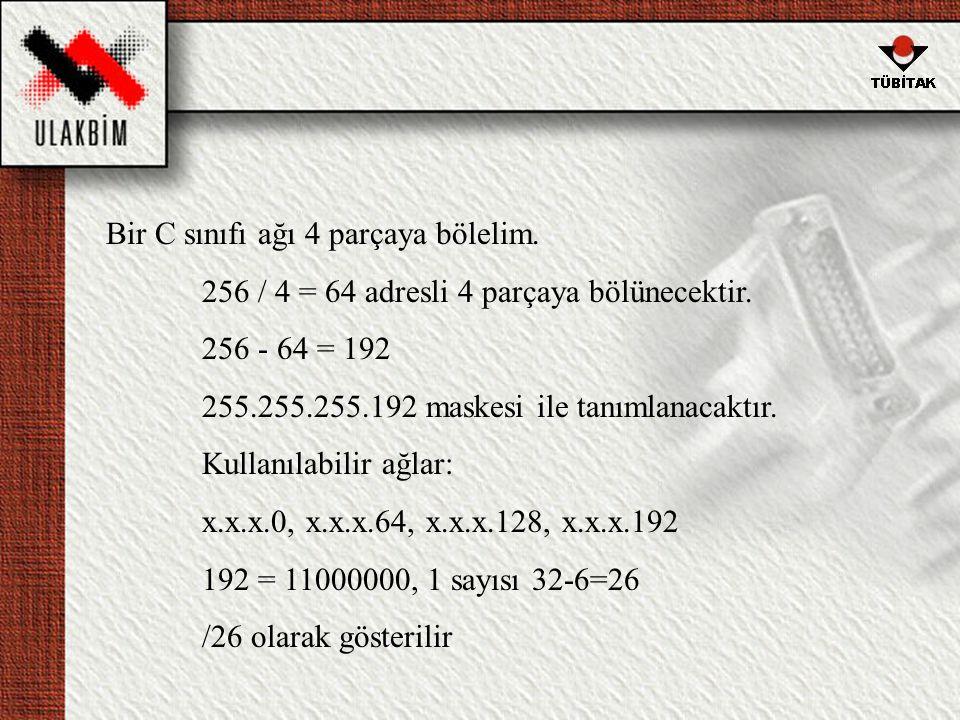 Bir C sınıfı ağı 4 parçaya bölelim.256 / 4 = 64 adresli 4 parçaya bölünecektir.