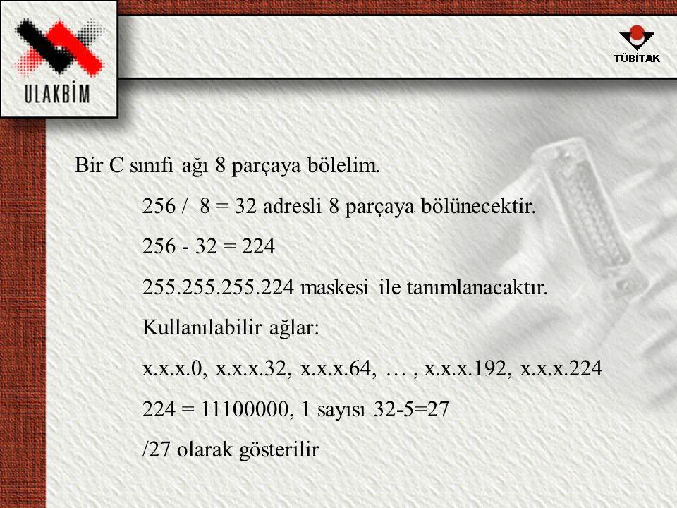 Bir C sınıfı ağı 8 parçaya bölelim.256 / 8 = 32 adresli 8 parçaya bölünecektir.