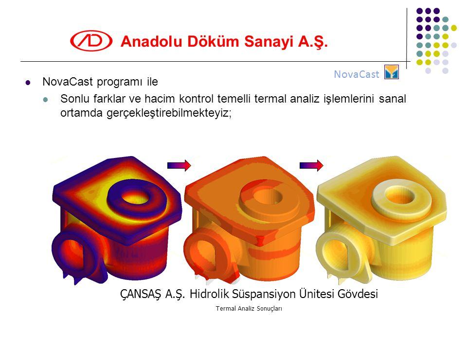 Anadolu Döküm Sanayi A.Ş.  NovaCast programı ile  Sonlu farklar ve hacim kontrol temelli termal analiz işlemlerini sanal ortamda gerçekleştirebilmek