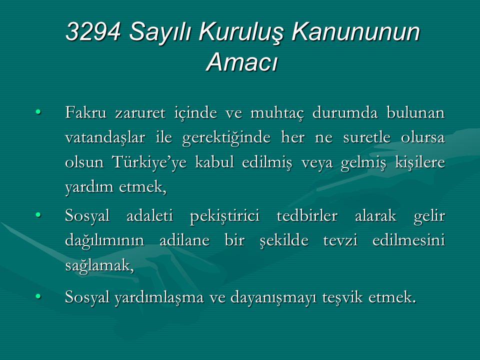 3294 Sayılı Kuruluş Kanununun Amacı •Fakru zaruret içinde ve muhtaç durumda bulunan vatandaşlar ile gerektiğinde her ne suretle olursa olsun Türkiye'y