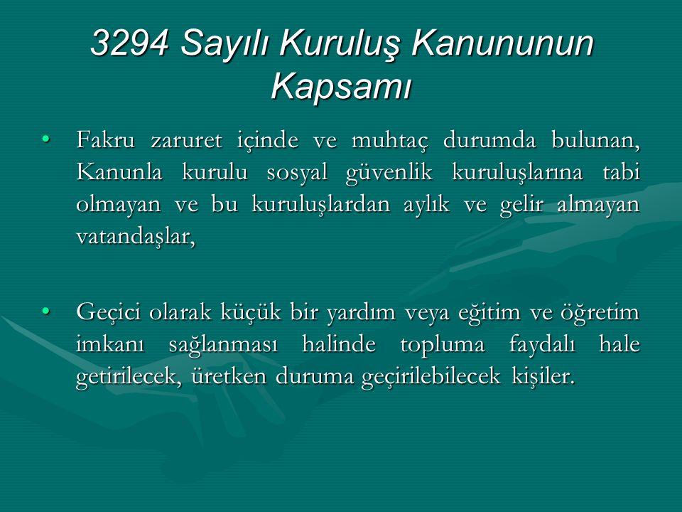 3294 Sayılı Kuruluş Kanununun Kapsamı •Fakru zaruret içinde ve muhtaç durumda bulunan, Kanunla kurulu sosyal güvenlik kuruluşlarına tabi olmayan ve bu
