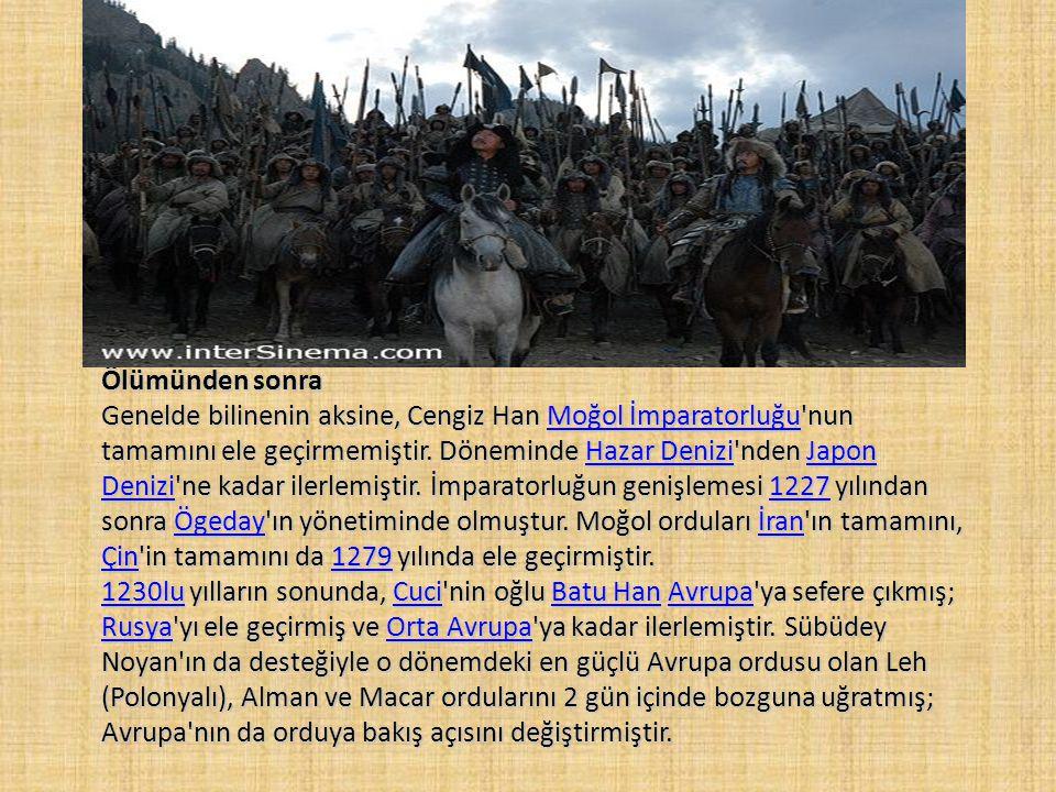 Dünya tarihindeki etkileri • Cengiz Han'ın Asya'yı birleştirmesiyle sınırlar ve gümrükler kalkmış, Asya'daki iktisadi yapı değişmiştir. Halklar arası