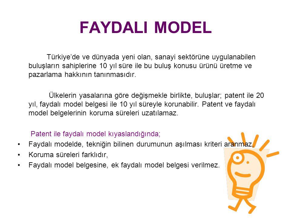 FAYDALI MODEL Türkiye'de ve dünyada yeni olan, sanayi sektörüne uygulanabilen buluşların sahiplerine 10 yıl süre ile bu buluş konusu ürünü üretme ve pazarlama hakkının tanınmasıdır.