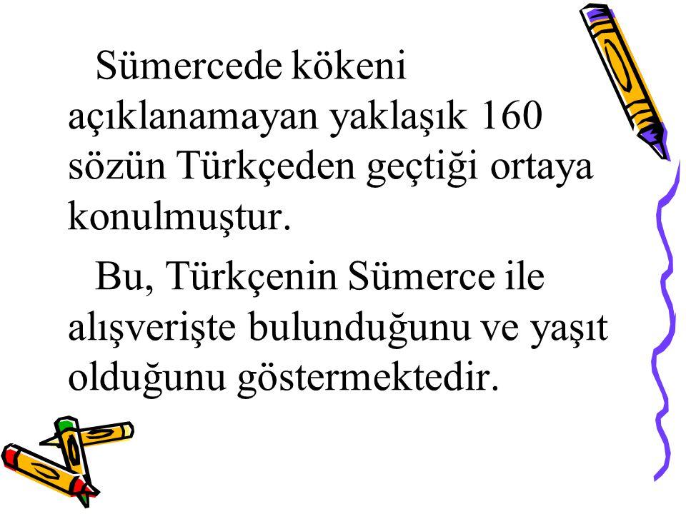 Sümercede kökeni açıklanamayan yaklaşık 160 sözün Türkçeden geçtiği ortaya konulmuştur. Bu, Türkçenin Sümerce ile alışverişte bulunduğunu ve yaşıt old