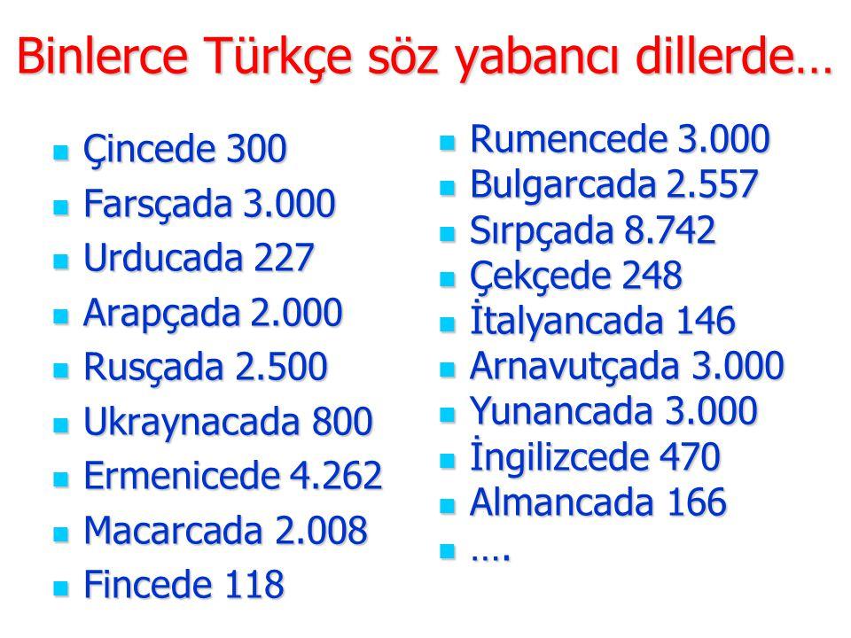 Binlerce Türkçe söz yabancı dillerde…  Çincede 300  Farsçada 3.000  Urducada 227  Arapçada 2.000  Rusçada 2.500  Ukraynacada 800  Ermenicede 4.
