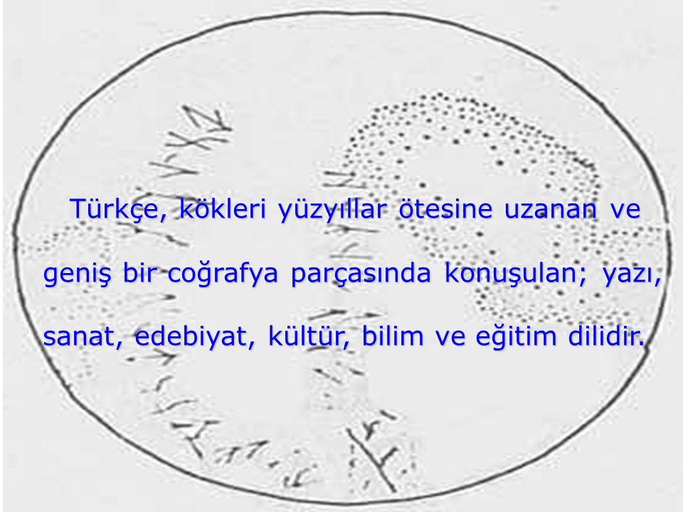 Türkçe, kökleri yüzyıllar ötesine uzanan ve geniş bir coğrafya parçasında konuşulan; yazı, sanat, edebiyat, kültür, bilim ve eğitim dilidir.