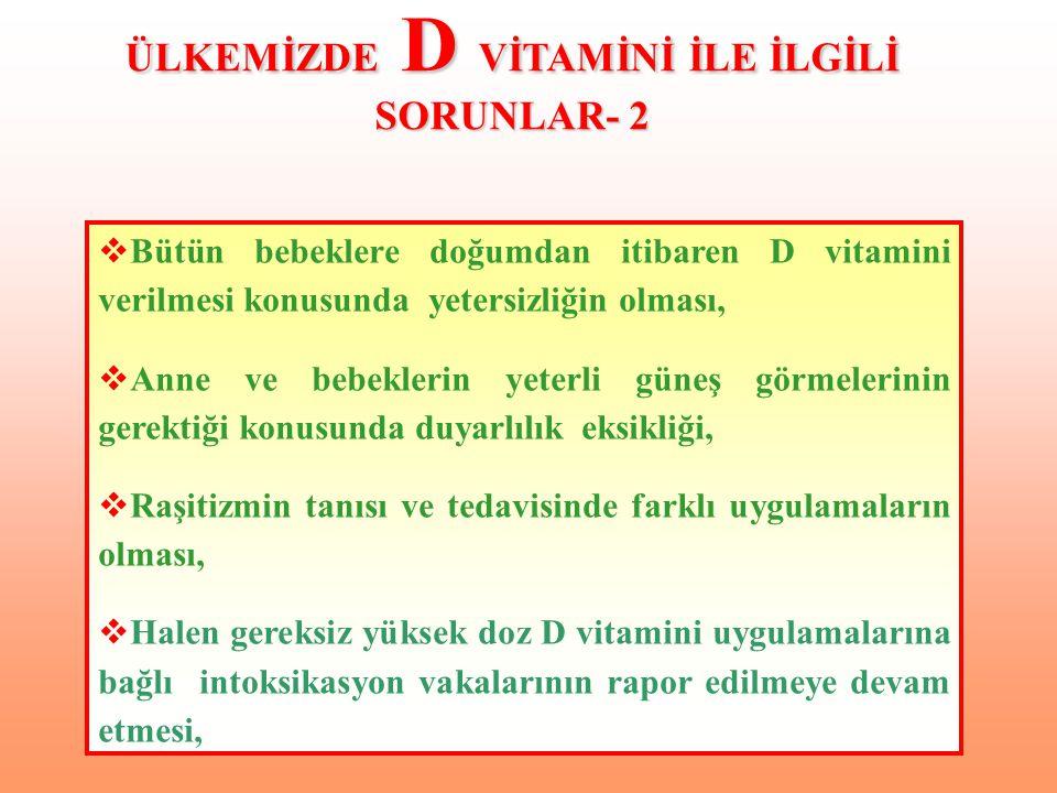  Bütün bebeklere doğumdan itibaren D vitamini verilmesi konusunda yetersizliğin olması,  Anne ve bebeklerin yeterli güneş görmelerinin gerektiği kon
