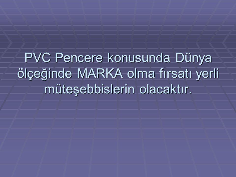 PVC Pencere konusunda Dünya ölçeğinde MARKA olma fırsatı yerli müteşebbislerin olacaktır.