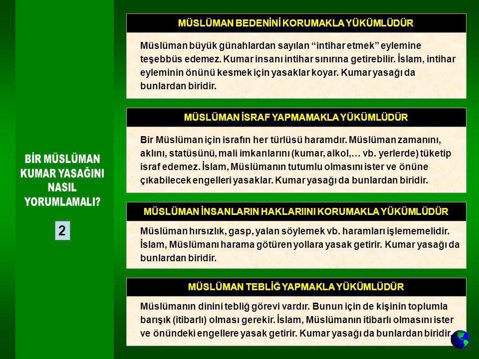 """2 MÜSLÜMAN BEDENİNİ KORUMAKLA YÜKÜMLÜDÜR Müslüman büyük günahlardan sayılan """"intihar etmek"""" eylemine teşebbüs edemez. Kumar insanı intihar sınırına ge"""
