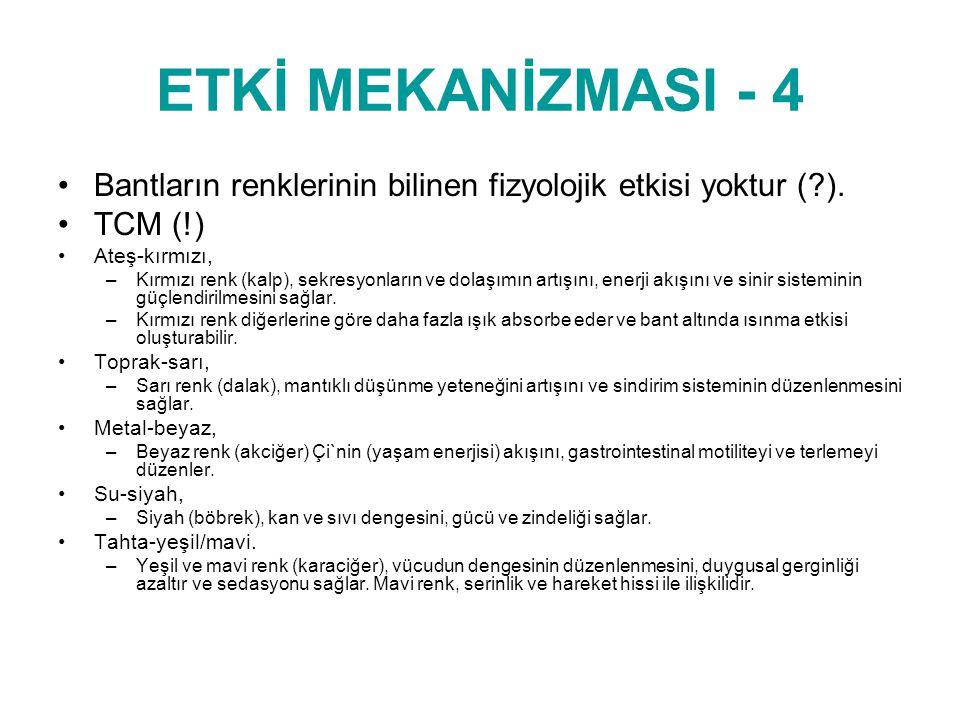 ETKİ MEKANİZMASI - 4 •Bantların renklerinin bilinen fizyolojik etkisi yoktur (?). •TCM (!) © www.drsedatyildiz.com •Ateş-kırmızı, –Kırmızı renk (kalp)