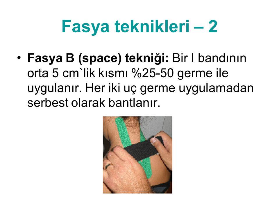 Fasya teknikleri – 2 •Fasya B (space) tekniği: Bir I bandının orta 5 cm`lik kısmı %25-50 germe ile uygulanır. Her iki uç germe uygulamadan serbest ola