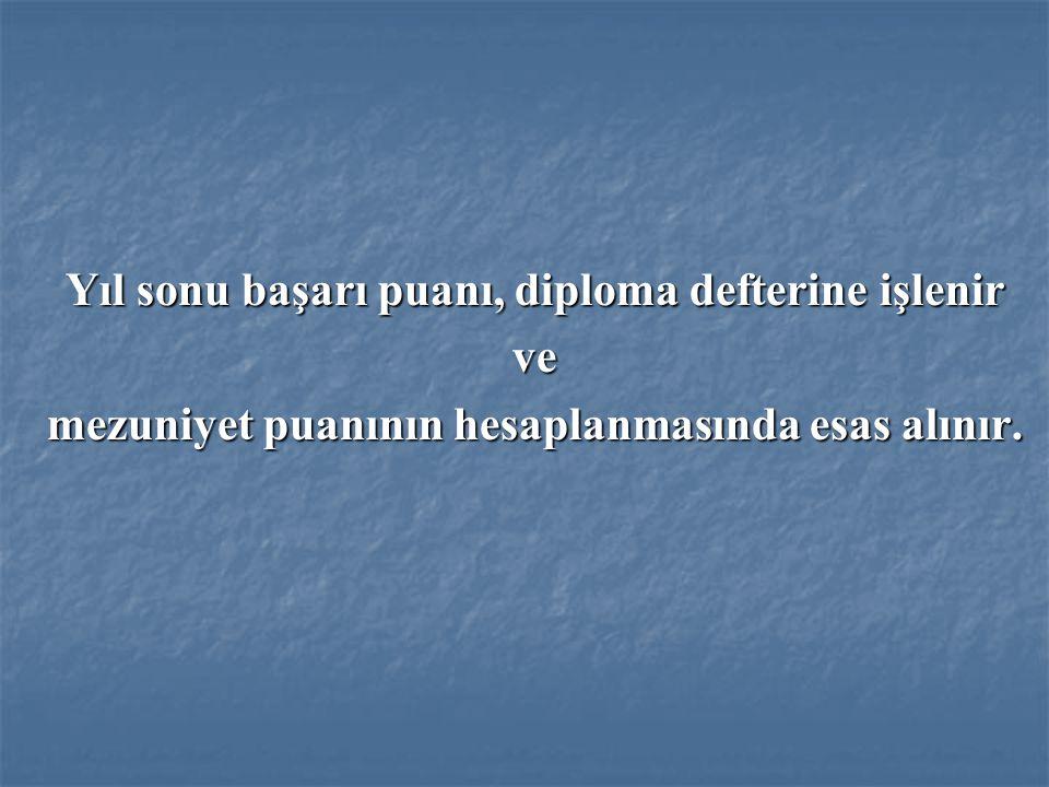 Yıl sonu başarı puanı, diploma defterine işlenir ve mezuniyet puanının hesaplanmasında esas alınır.