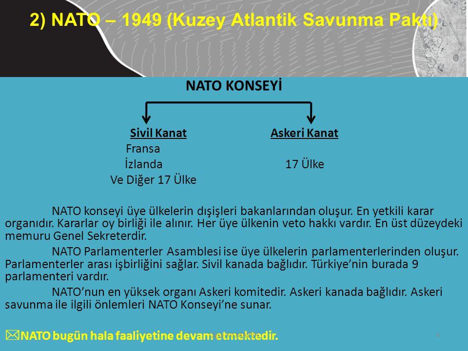 NATO KONSEYİ Sivil Kanat Askeri Kanat Fransa İzlanda 17 Ülke Ve Diğer 17 Ülke NATO konseyi üye ülkelerin dışişleri bakanlarından oluşur. En yetkili ka