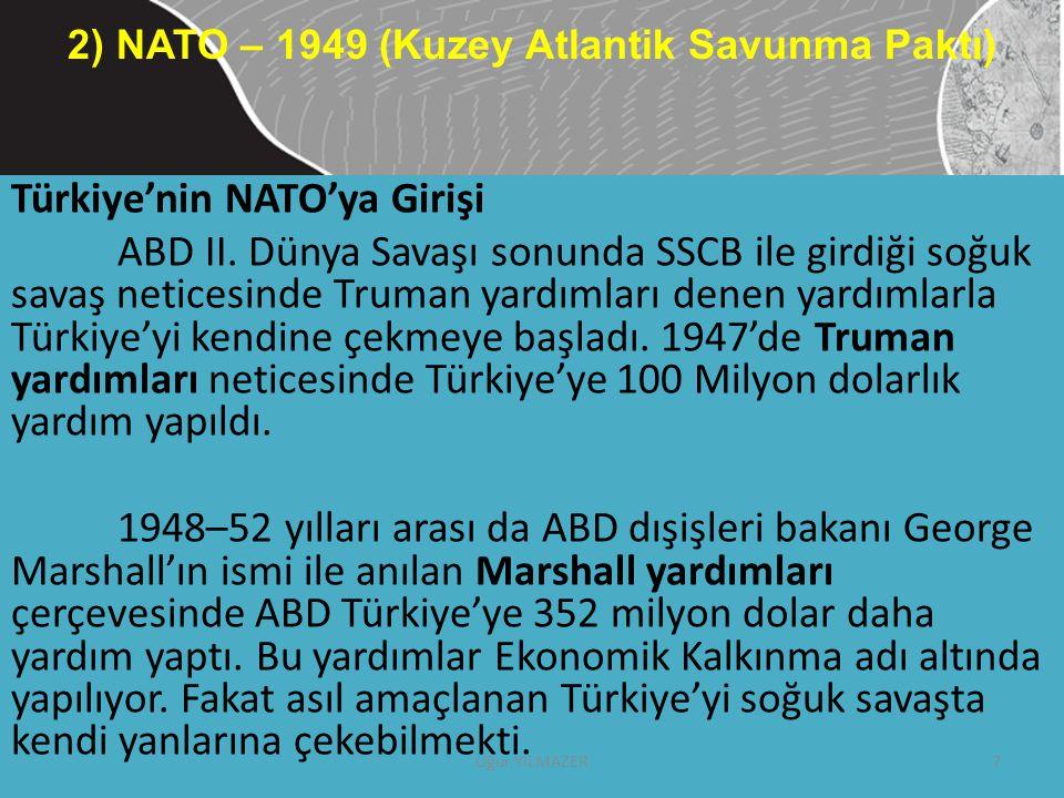 Türkiye'nin NATO'ya Girişi ABD II. Dünya Savaşı sonunda SSCB ile girdiği soğuk savaş neticesinde Truman yardımları denen yardımlarla Türkiye'yi kendin