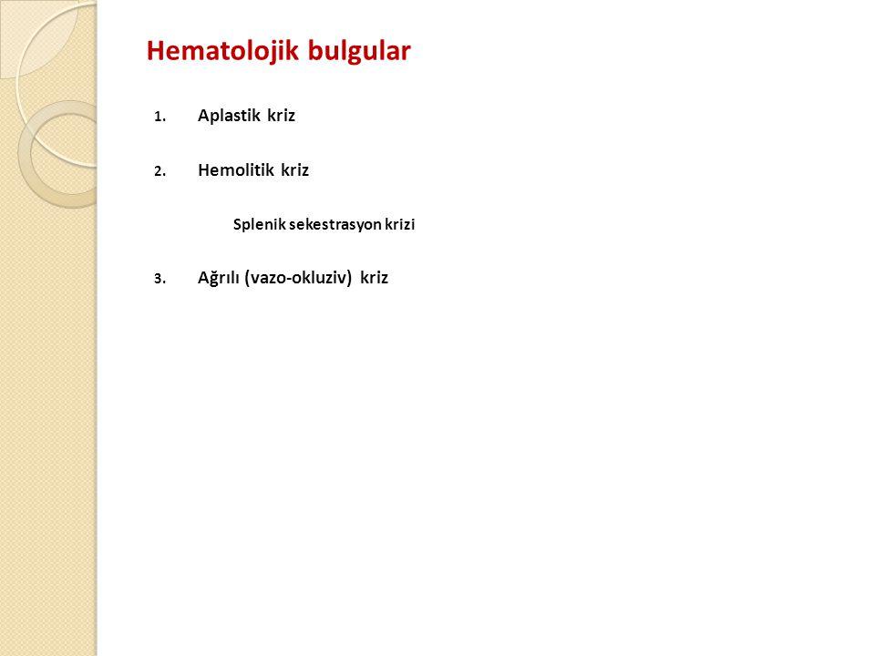 Hematolojik bulgular 1.Aplastik kriz 2. Hemolitik kriz Splenik sekestrasyon krizi 3.