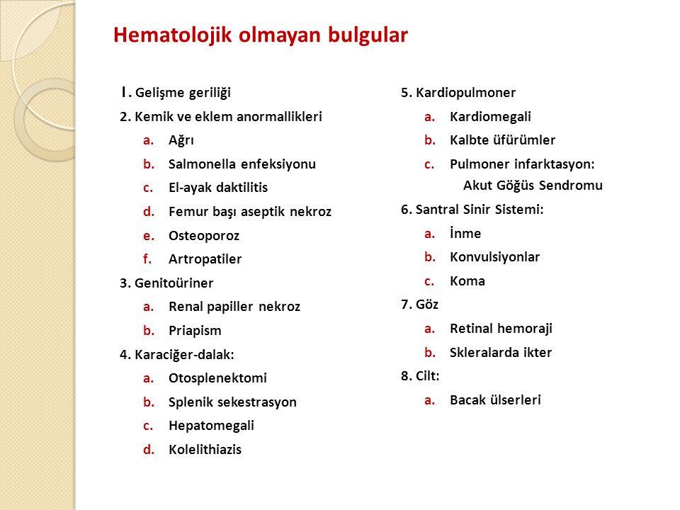 Hematolojik olmayan bulgular 1.Gelişme geriliği 2.