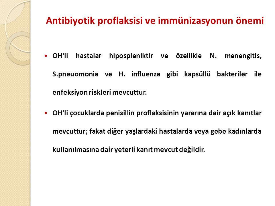 Antibiyotik proflaksisi ve immünizasyonun önemi  OH li hastalar hipospleniktir ve özellikle N.