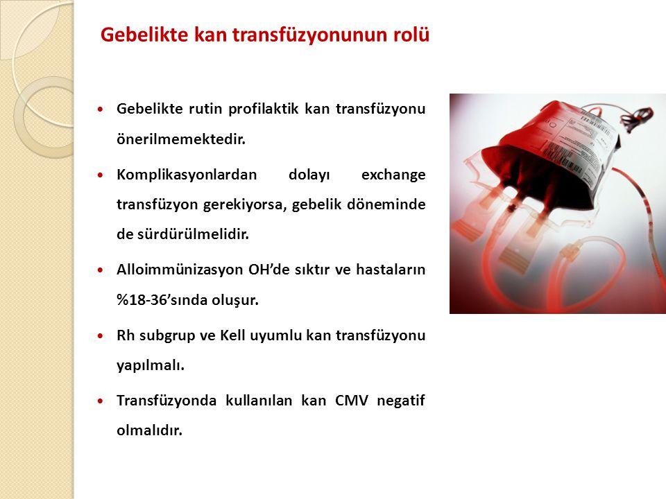 Gebelikte kan transfüzyonunun rolü  Gebelikte rutin profilaktik kan transfüzyonu önerilmemektedir.