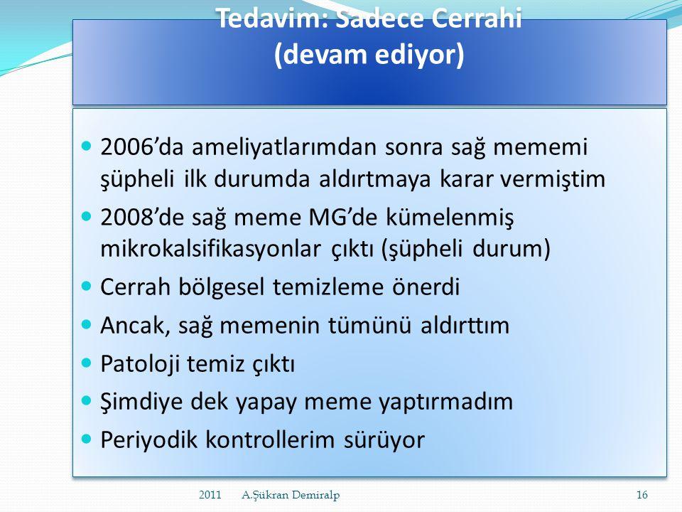 Tedavim: Sadece Cerrahi • Cerrah o Meme alındığı, erken evre olduğu o Patoloji sonucu kişilere göre değişen:  Reseptörlerim (ER, PR): -  Hücre çoğal