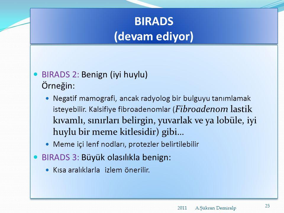 BIRADS (devam ediyor)  BIRADS'ın son sürümü lezyonları 6 sınıfa ayırıyor:  BIRADS 0: Eksik:  Ek inceleme gerekli; örneğin sıkıştırma, büyütme, özel