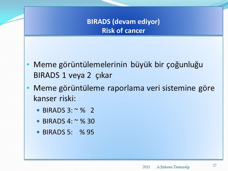 BIRADS (devam ediyor)  BIRADS 4: Şüpheli anormallik:  Meme kanserinin karakteristik bulguları yok ancak,  Malign olma ihtimali olan bulgular  Böyl