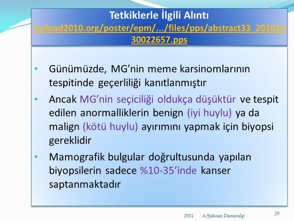 KARŞILAŞTIRMA MAMOMOGRAFİ (MG), ULTRASONOGRAFİ ( USG), ve KONTRASTLI MANYETİK REZONANS (MR) 2011 A.Şükran Demiralp28
