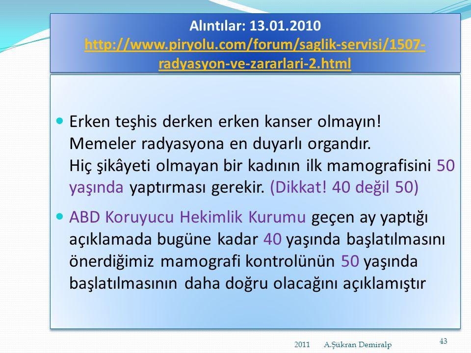 http://www.euromed.com.tr/AYIN_KONUSU_ %28_MAMOGRAFI_%29-yazi-12.aspx • Amerikan Kanser Enstitüsü, Dünya Sağlık Örgütü, Türk Radyoloji Derneği:  40 y