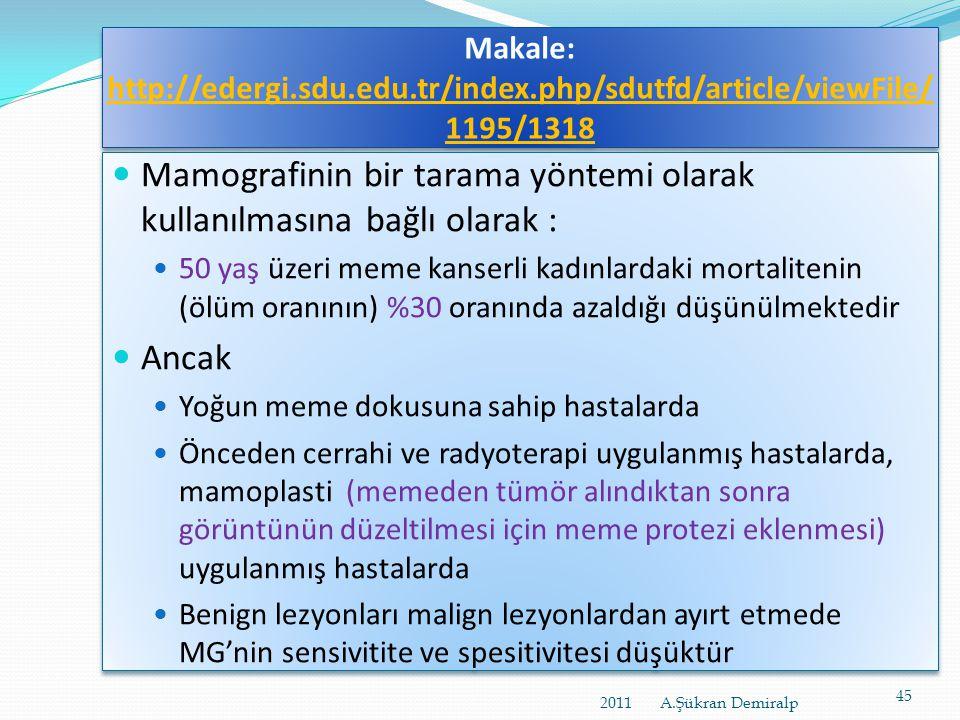 Meme Kanseri Taramaları İçin Ulusal Standartlar http://www.ukdk.org/pdf/mevzuat/Ulusal_Meme_tarama_standartlari.pdf  T. C. Sağlık Bakanlığı, Kanserle