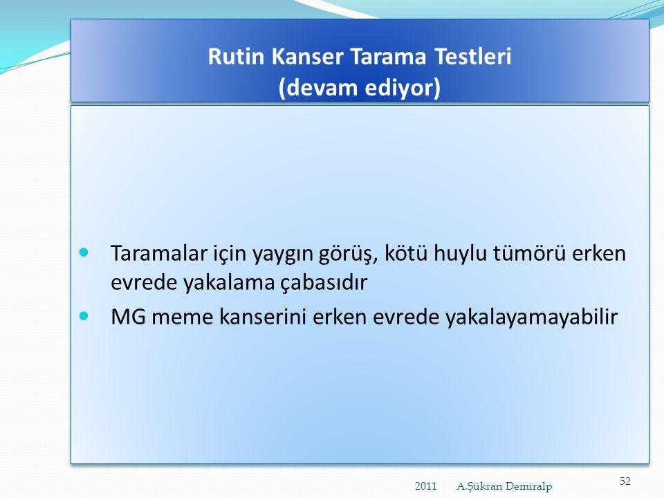 Rutin Kanser Tarama Testleri http://www.scientificamerican.com/article.cfm?id=health-care- 4-common-myths-test-yourself&page=2  Tarama testlerinin sa