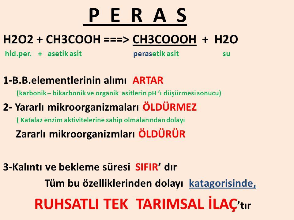 H2O2 + CH3COOH ===> CH3COOOH + H2O hid.per. + asetik asit perasetik asit su 1-B.B.elementlerinin alımı ARTAR (karbonik – bikarbonik ve organik asitler