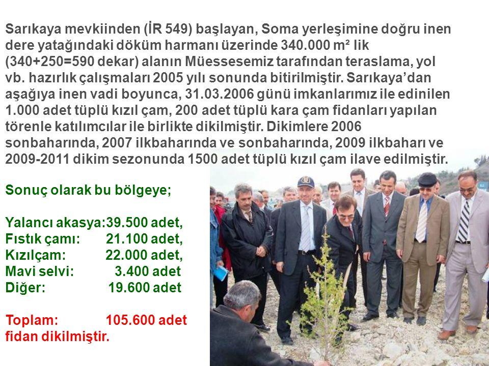 Sarıkaya mevkiinden (İR 549) başlayan, Soma yerleşimine doğru inen dere yatağındaki döküm harmanı üzerinde 340.000 m² lik (340+250=590 dekar) alanın M