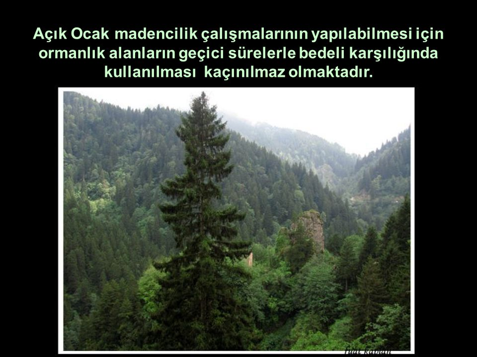 Açık Ocak madencilik çalışmalarının yapılabilmesi için ormanlık alanların geçici sürelerle bedeli karşılığında kullanılması kaçınılmaz olmaktadır.