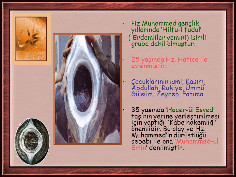 •Hz. Muhammed, amcası ile birlikte ticaret için Şam'a gitmiştir. Busra şehrinde Bahira isimli rahiple geçtiği bilinen olay İslam tarihi açısından önem
