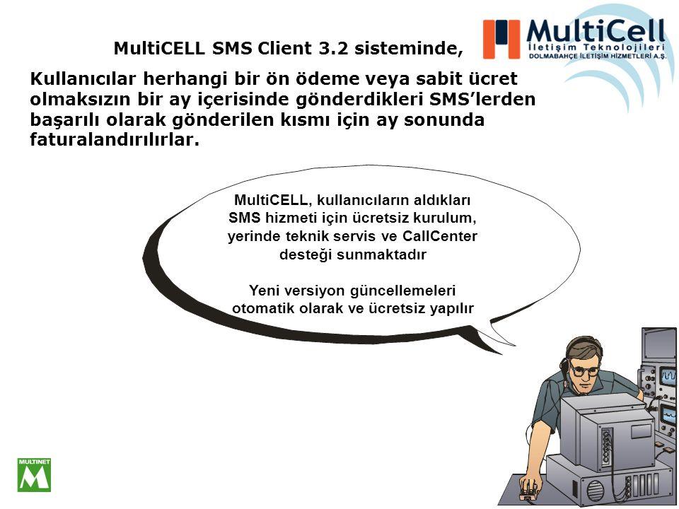 MultiCELL SMS Client 3.2 sisteminde, Kullanıcılar herhangi bir ön ödeme veya sabit ücret olmaksızın bir ay içerisinde gönderdikleri SMS'lerden başarılı olarak gönderilen kısmı için ay sonunda faturalandırılırlar.