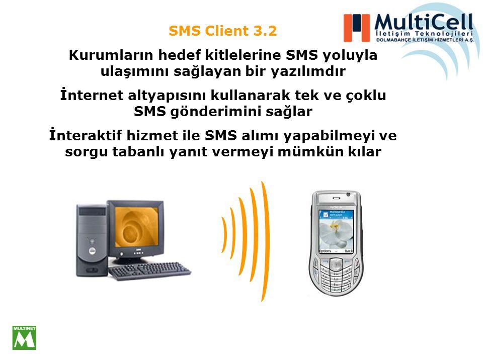 MultiCELL SMS Client 3.2 ile 3 yerel operatorün abonelerine hızlı, raporlanabilir, ekonomik ve size ait gönderen ismi ile iletilen SMS'ler gönderebilirsiniz.