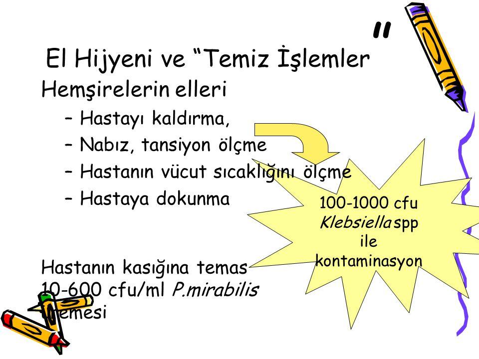 """El Hijyeni ve """"Temiz İşlemler """" Hemşirelerin elleri –Hastayı kaldırma, –Nabız, tansiyon ölçme –Hastanın vücut sıcaklığını ölçme –Hastaya dokunma 100-1"""