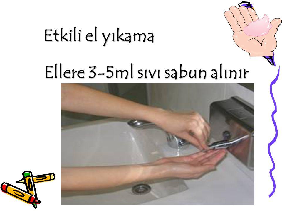 Etkili el yıkama Ellere 3-5ml sıvı sabun alınır Ellere 3-5ml sıvı sabun alınır