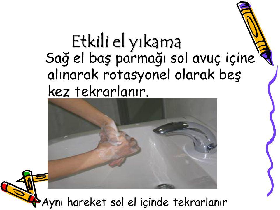 Etkili el yıkama Sağ el baş parmağı sol avuç içine alınarak rotasyonel olarak beş kez tekrarlanır. Aynı hareket sol el içinde tekrarlanır