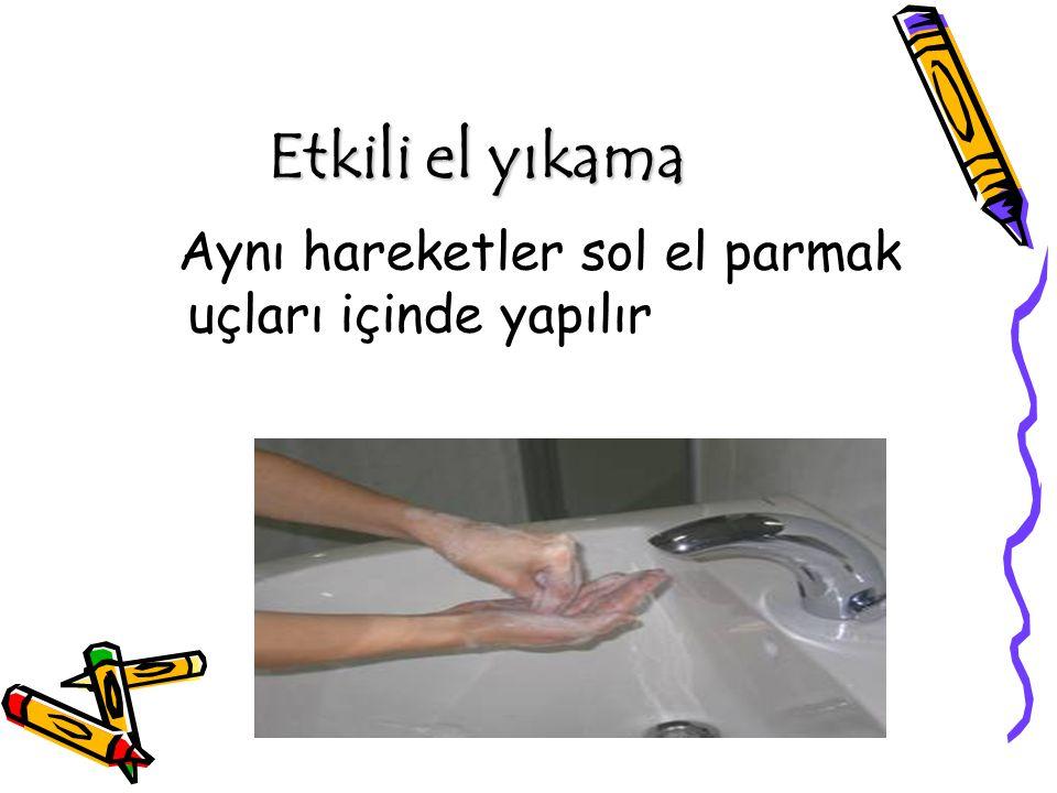 Etkili el yıkama Aynı hareketler sol el parmak uçları içinde yapılır