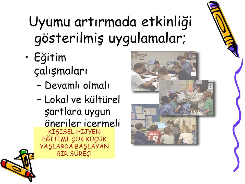 Uyumu artırmada etkinliği gösterilmiş uygulamalar; •Eğitim çalışmaları –Devamlı olmalı –Lokal ve kültürel şartlara uygun öneriler içermeli KİŞİSEL HİJ