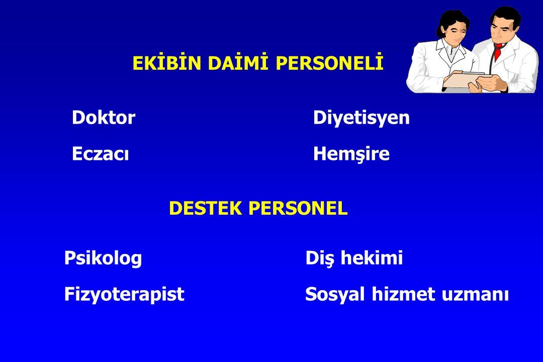 EKİBİN DAİMİ PERSONELİ DoktorDiyetisyen EczacıHemşire DESTEK PERSONEL PsikologDiş hekimi FizyoterapistSosyal hizmet uzmanı