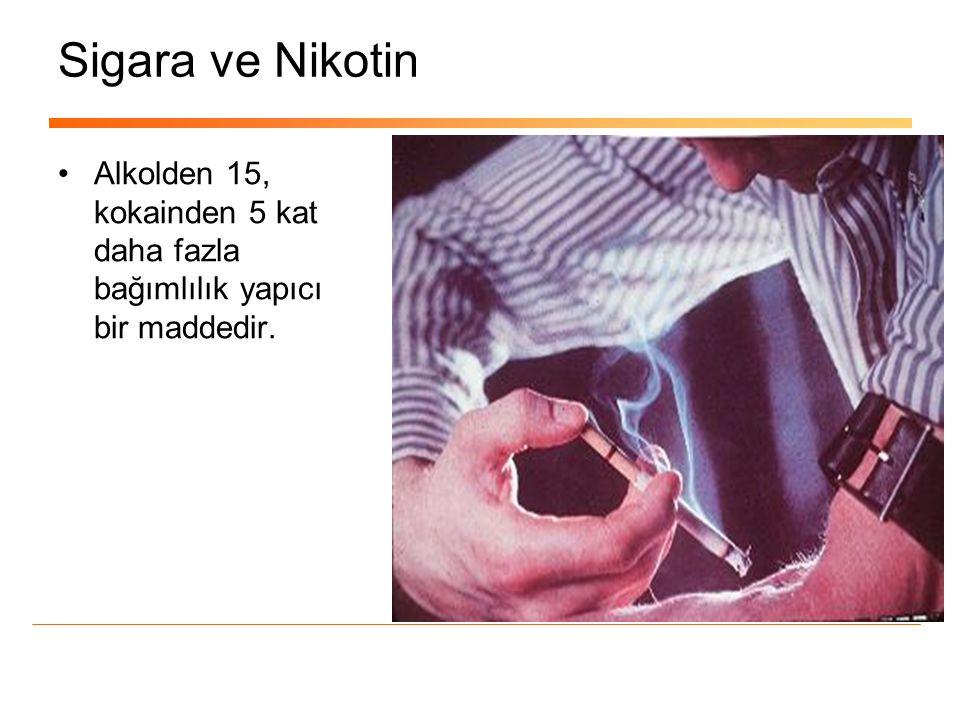 Sigara ve Nikotin •Alkolden 15, kokainden 5 kat daha fazla bağımlılık yapıcı bir maddedir.