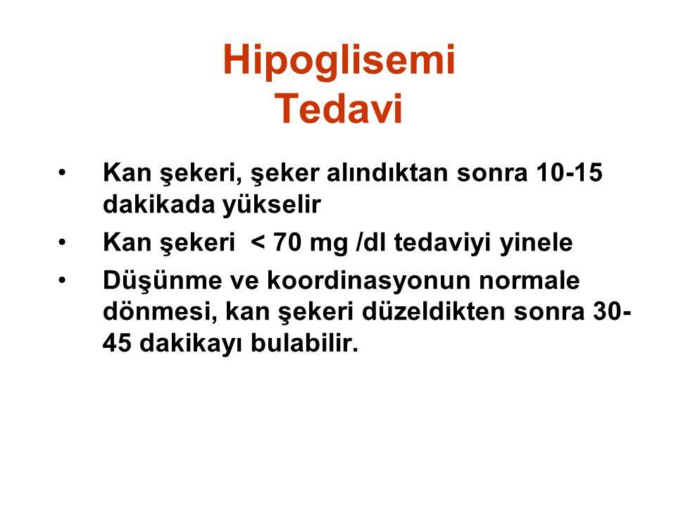 Hipoglisemi Tedavi •Kan şekeri, şeker alındıktan sonra 10-15 dakikada yükselir •Kan şekeri < 70 mg /dl tedaviyi yinele •Düşünme ve koordinasyonun norm