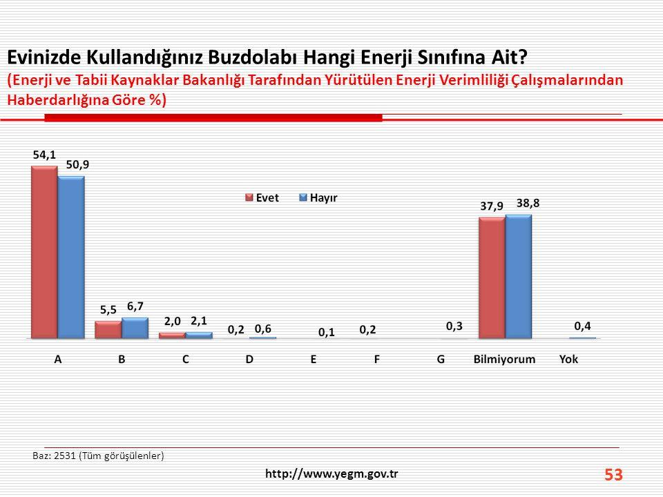53 Evinizde Kullandığınız Buzdolabı Hangi Enerji Sınıfına Ait? (Enerji ve Tabii Kaynaklar Bakanlığı Tarafından Yürütülen Enerji Verimliliği Çalışmalar