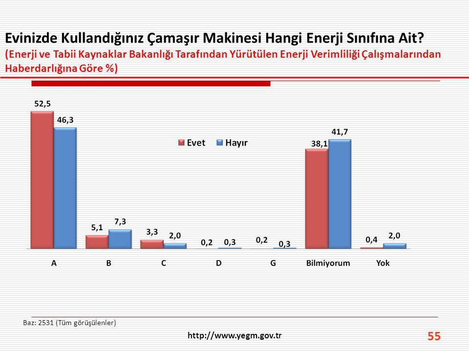 55 Evinizde Kullandığınız Çamaşır Makinesi Hangi Enerji Sınıfına Ait? (Enerji ve Tabii Kaynaklar Bakanlığı Tarafından Yürütülen Enerji Verimliliği Çal