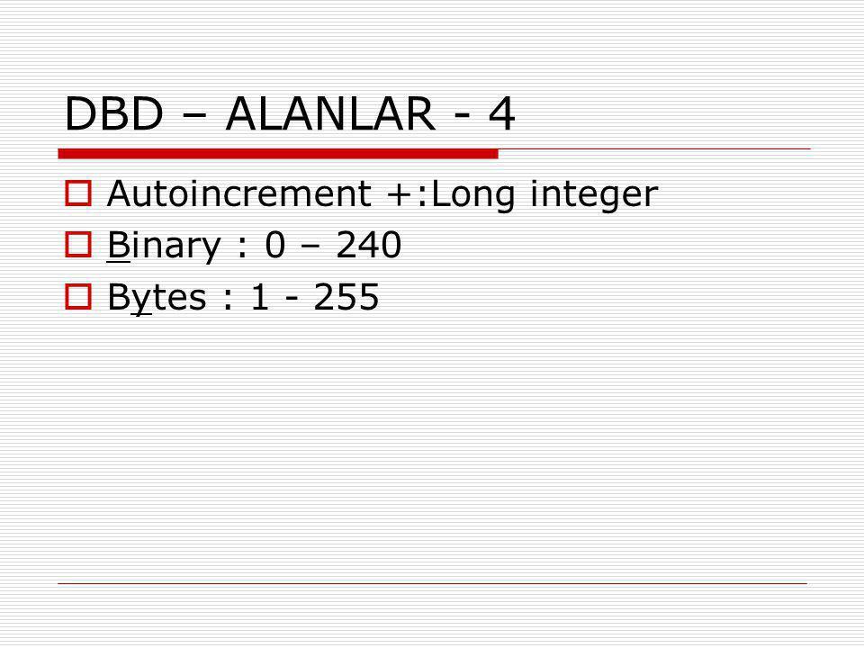 DBD – ALANLAR - 4  Autoincrement +:Long integer  Binary : 0 – 240  Bytes : 1 - 255