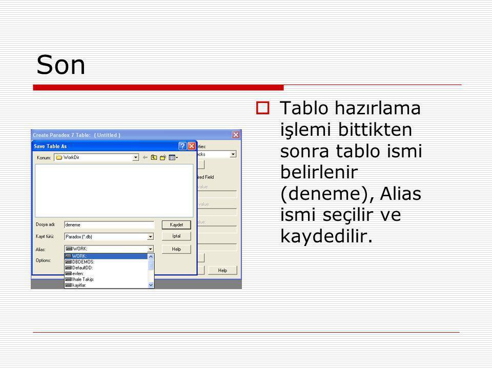 Son  Tablo hazırlama işlemi bittikten sonra tablo ismi belirlenir (deneme), Alias ismi seçilir ve kaydedilir.