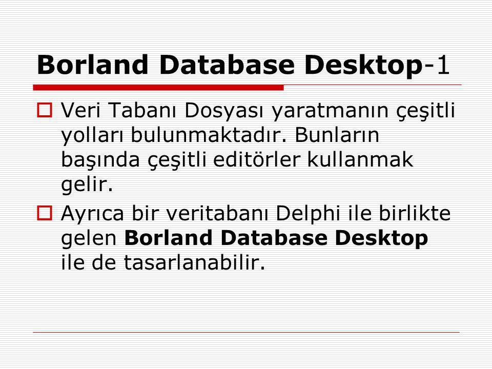 Borland Database Desktop-1  Veri Tabanı Dosyası yaratmanın çeşitli yolları bulunmaktadır.