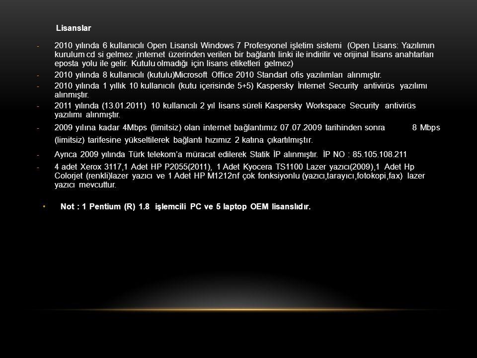 Lisanslar - 2010 yılında 6 kullanıcılı Open Lisanslı Windows 7 Profesyonel işletim sistemi (Open Lisans: Yazılımın kurulum cd si gelmez,internet üzeri
